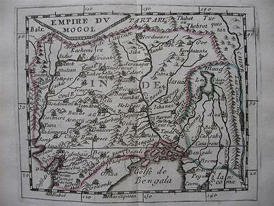 1682 - DU VAL - Miniature map INDIA + coat of arms