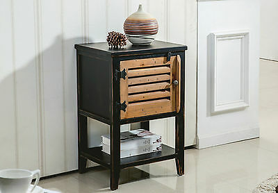 """""""Shelburn"""" Collection Accent Table in Black w/ Pine Cabinet by !nspire 501-853"""