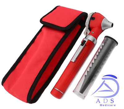 NEW RED F.O Otoscope Ophthalmoscope Opthalmoscope ENT Diagnostic Examination Set