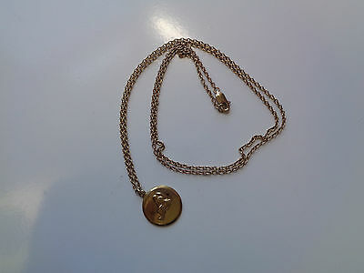 SOLID 9 K CT 375 GOLD CHAIN PENDANT NECKLACE 7.36 gram JESUS MOTHER MARY ??