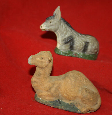 Antique vintage Camel and Donkey putz toy christmas crib crèche figures Germany