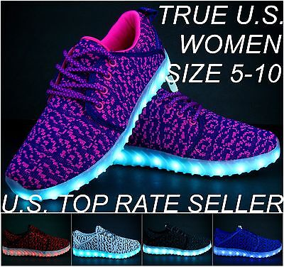 Women's LED Light Up Sneakers USB Charger Luminous Lady Athletic Shoes Lace Up