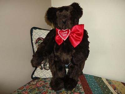 Vermont Teddy Bear CHOCOLATE BROWN Faux Mink Long Plush 16in.Handcrafted RETIRED