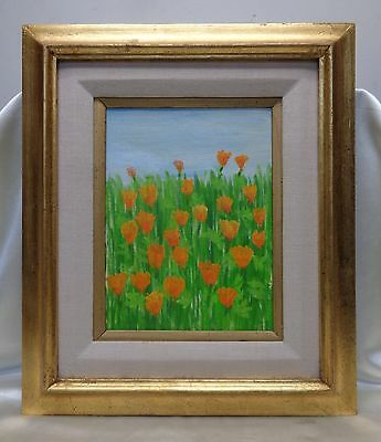 vintage yellow tulips oil painting on canvas panel in gold antique wooden frame