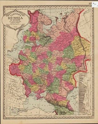 1886 RUSSIA in Europe  HAND COLORING original ANTIQUE MAP