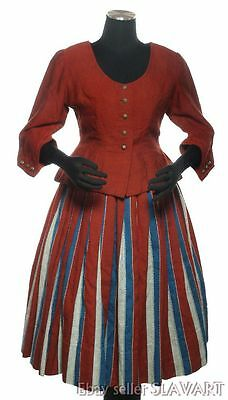 European folk costume dress & jacket red striped ethnic Dutch Swedish? bunad art