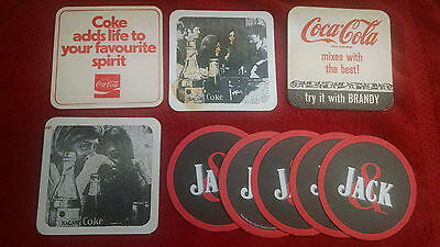 Coca Cola Coasters (9) Jack & Coke-Bacardi & Coke-Try it with Brandy-Excellent!
