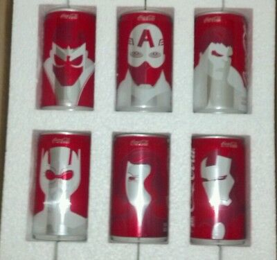 Marvel Avengers Mini Coca Cola Cans Complete Collector Set 6 pack Coke NEW