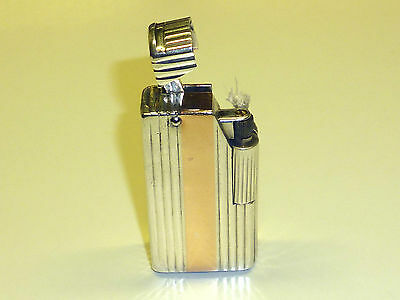 Dunhill Paris Silver Liftarm Lighter With Gold Stripes - 1940 - France - Rare