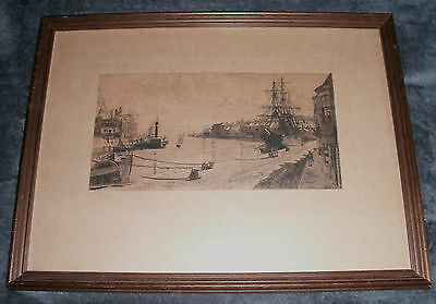 WILL PYE - WEYMOUTH HARBOUR SCENE ETCHING -  Late 19th Century  - signed