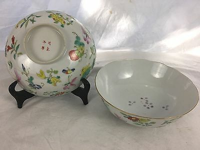 Pair of Chinese Porcelain Bowls, Qing Dynasty, Butterflies and Flowers,Cheng Hua