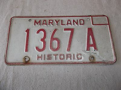 Maryland Historic License Plate - 1367  A - Vintage - Collectible - Origional