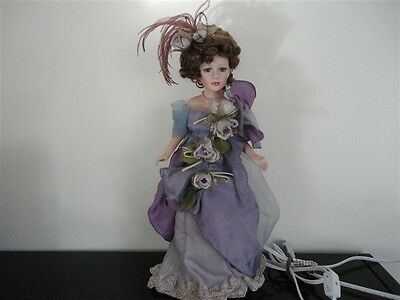"""USA Made Porcelain Victorian Lady Doll Lamp 18"""" Glass Eyes Swivel Body"""