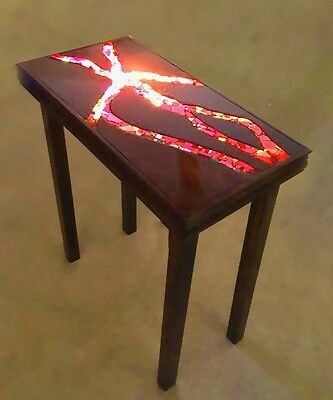 Lava Entry Table With Light Compartment  Mosaic and Wood Hand Crafted Art