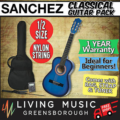 New Sanchez Classical Guitar Pack 1/2 Size with Nylon Strings for Beginner