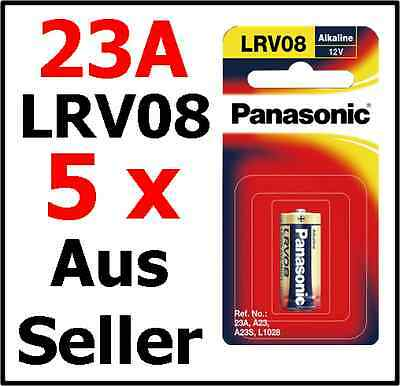 5 Panasonic 23A A23 LRV08 Alkaline Battery 12V A23S Car Alarms remote control