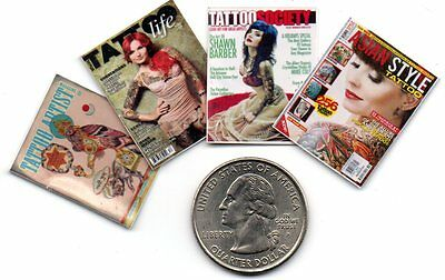 4 Miniature   -   TATTOO ARTIST  MAGAZINES  - Dollhouse  1:12 scale