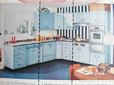 1957 YOUNGSTOWN Blue Steel Kitchen CABINETS By the Yard Retro Fifties VTG Ad