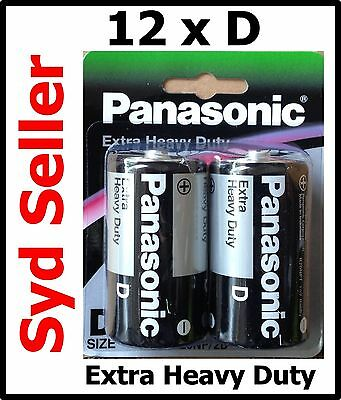 12 Panasonic Extra Heavy duty D Size batteries 1.5v