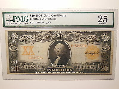 1906 $20 Gold Note Fr. 1185 Parker-Burke Classic PMG Very Fine 25