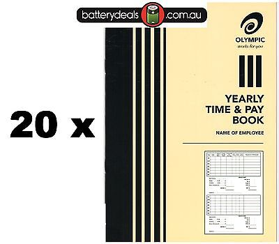 20 x Olympic Yearly Time and pay wages book A5 32 pages 210 x 148 140583 Wages