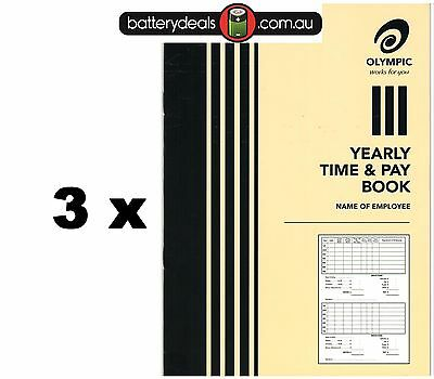 3 x Olympic Yearly Time and pay wages book A5 32 pages 210 x 148 140583 Wages