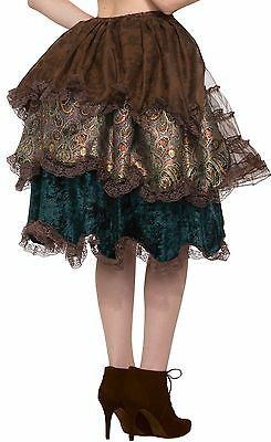 Steampunk Bustle Layered Brown Skirt Victorian Womens Adult Costume Accessory