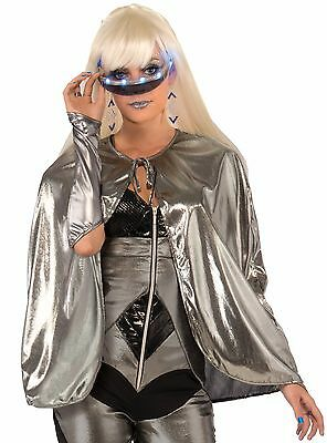 "Metallic Silver Futuristic 25"" Short Cape Outer Space Hot Diva Costume Accessory"