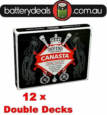 12 x Canasta Playing Cards Queen's Slipper Double Deck Casino Quality Plastic