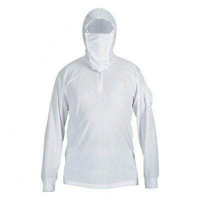 Men Breathable Long Sleeve Sun Protective Quick Dry Hooded Fishing Shirts White
