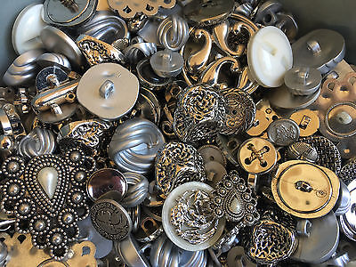 SWEET! 100 pcs  SILVER, ANTIQUE SILVER, NOVELTY BUTTONS  MIXED LOT