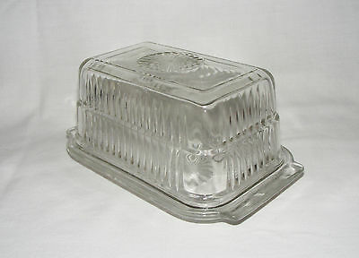 Vintage Clear Depression Glass Hoosier Lidded Refrigerator 1 Lb Butter Dish Box