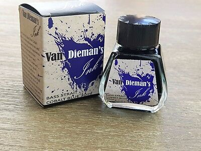 Van Dieman's Fountain Pen Ink Bass Strait Cobalt Blue 30ml Bottle Australian
