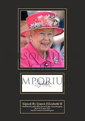 Queen Elizabeth Signed Printed Autograph A4
