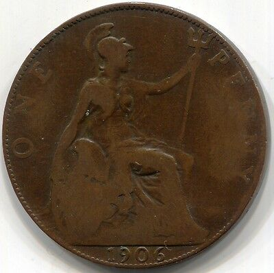1906 UK GREAT BRITAIN ONE PENNY Coin