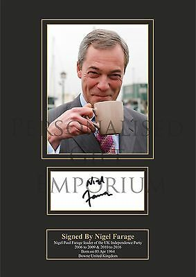 Nigel Farage Signed Printed Autograph A4