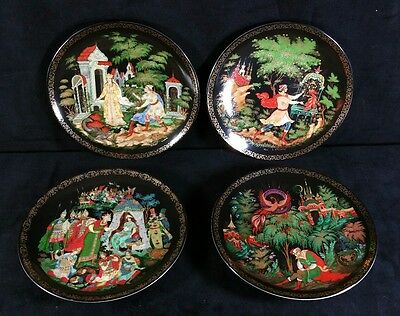 Set of 4 Tianex Russian Fairy Tale Collector Plates Bradford Exchange 1989-1990