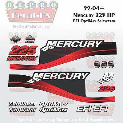 1999-04 Mercury 225HP Red Decals EFI OptiMax Saltwater 15pc Repro Outboard 2004
