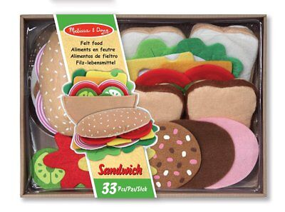Felt Food Sandwich Set Melissa And Doug 33 Durable Pieces Role Play Pretend Toy