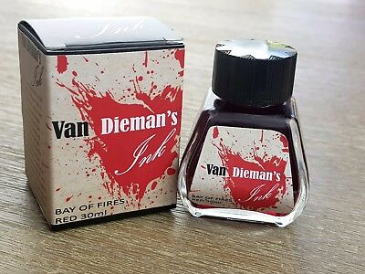 Van Dieman's Fountain Pen Ink Bay of Fires Red 30ml Bottle Australian Owned
