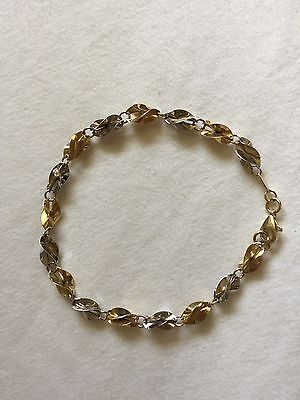 14 Ct White And Yellow Gold(Two Tone) Bracelet Excellent Condition