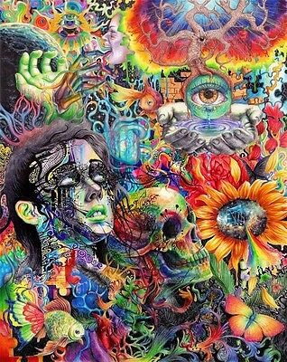 New Psychedelic Trippy Art Colorful Fabric Silk Poster Home Decor 13x20in 035