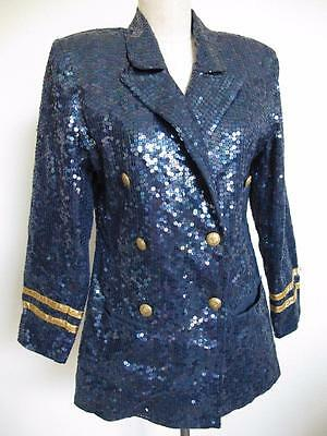 Vintage 80s Lew Magram Sequin Nautical Blazer Jacket M Gold Trim Buttons Trophy