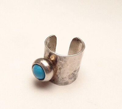 Vintage Navajo Turquoise Hammered Single Cuff Earring Sterling Silver 925