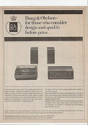 Bang & Olufsen Beomaster 900M Beovox 500 Hi Fi Music System 1970 Vintage Advert