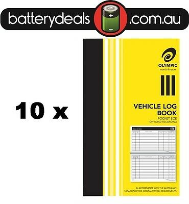 10 Olympic Pocket Vehicle Log Book 180x110mm 64 Page Car truck ATO requirements