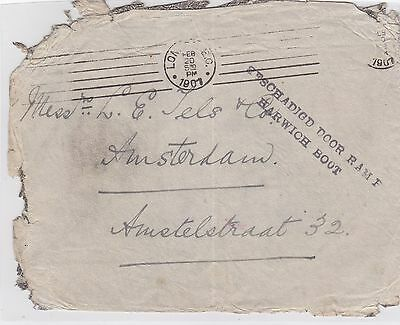 1901: letter from London to Amsterdam: Crash-cover: Beschädigt