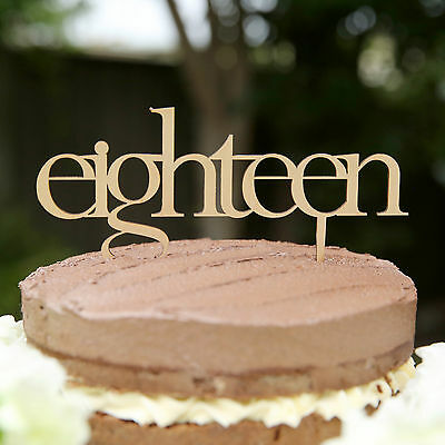 NEW Eighteen wooden birthday cake topper by The Northwood Collective