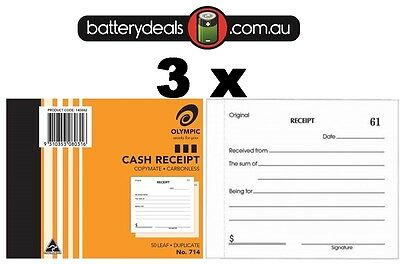 3 Olympic Cash Receipt Books Duplicate No714 Carbonless 50 Leaf 140882 #714