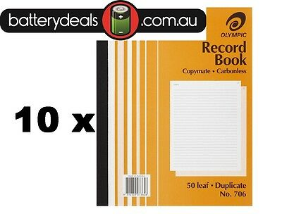 10 x Olympic Record Book No706 200 x 250mm Duplicate Carbonless 50 Leaf #706